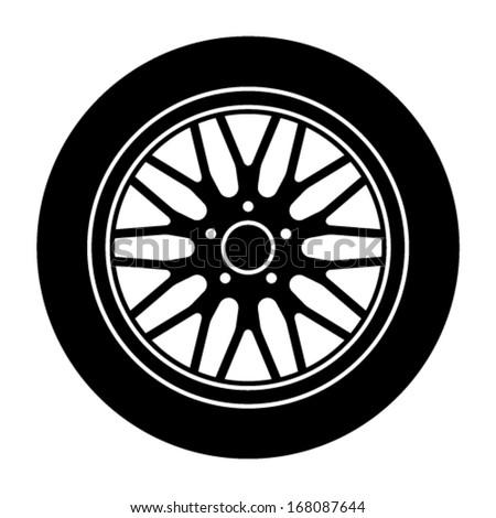 vector car aluminum wheel black white symbol - stock vector