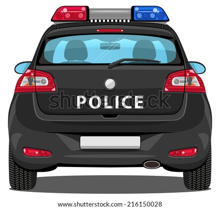 vector car - back view | police car - with visible interior - stock vector