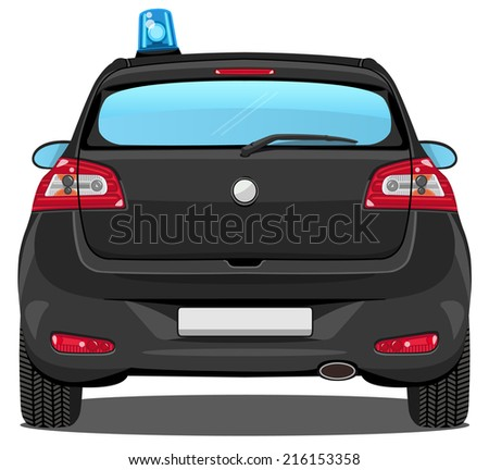 vector car - back view | special task force car - without visible interior - stock vector