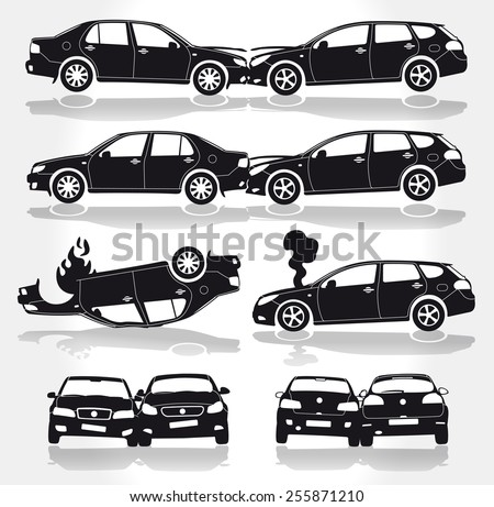 Vector Car Crashes - Side - Front - Back view - stock vector