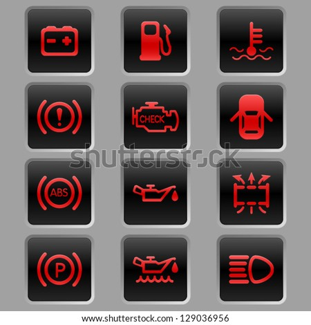 Vector Car Dashboard Auto Icon Set Stock Vector - Car sign on dashboard