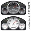 vector car dashboards with tachometer, speedometer and gasoline gauges - stock photo