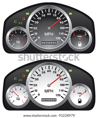 vector car dashboards with tachometer, speedometer and gasoline gauges - stock vector