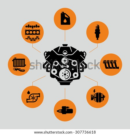Vector Car Engine Parts Icons  - stock vector