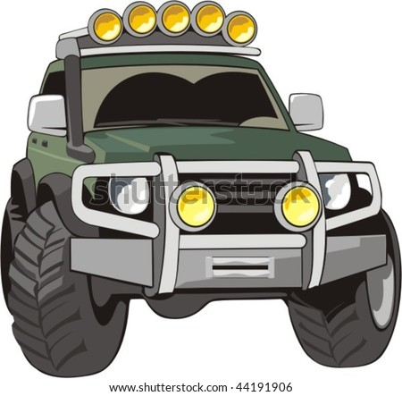 vector car for bad roads with equipment - stock vector