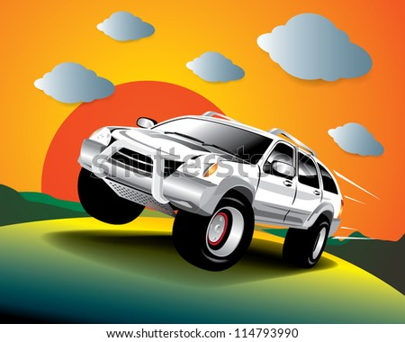 Vector car in the road - stock vector