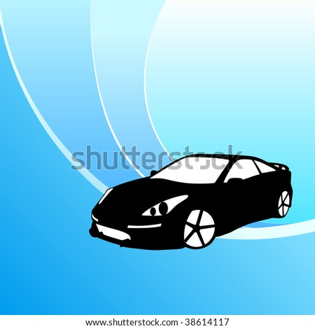 vector car on blue background - stock vector