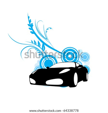 vector car on blue florals vector illustration - stock vector
