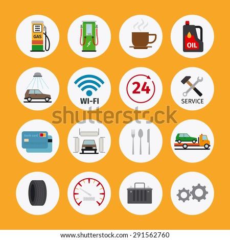Vector car service flat icons. Vehicle maintenance and repair - stock vector