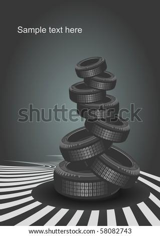 Vector car tire background - stock vector