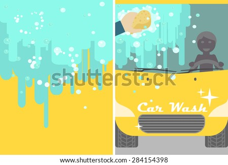 Vector car wash banner for advert. Yellow automobile with water and hand sponge washing. Vehicle cleaning and polish service flyer. Car service poster booklet - stock vector