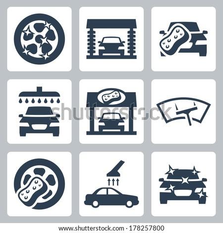 Vector car wash icons set - stock vector