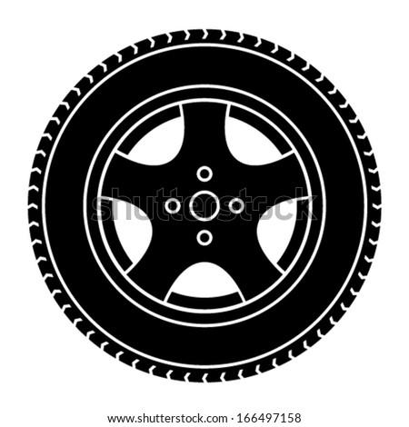 vector car wheel black white symbol - stock vector