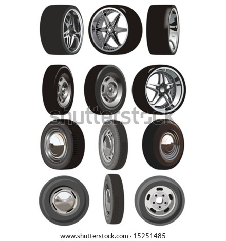 Vector car wheels set - stock vector