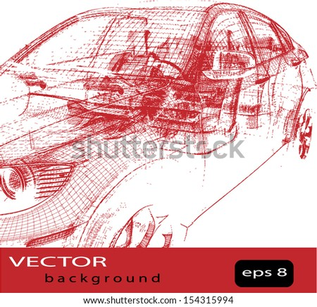 Vector car wire frame - stock vector