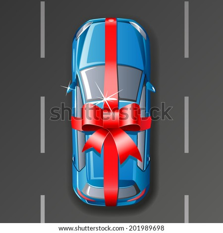 Vector car wrapped gift ribbon - stock vector