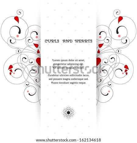 Vector card. Abstract pattern with curls and hearts. Wedding or Valentine's Day. Place for your text. Perfect for greetings, invitations or announcements. - stock vector