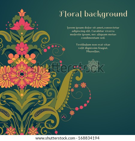 Vector card. Beautiful floral damask pattern in vintage style. Place for your text. Perfect for greetings, invitations or announcements - stock vector