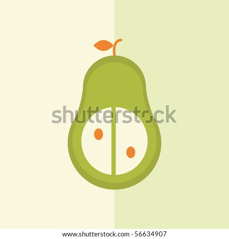Vector card design of stylized pear - stock vector