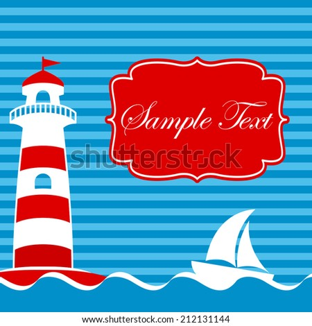 Vector card design with lighthouse and sailboat on blue striped background - stock vector