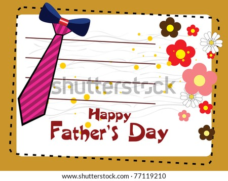 vector card for happy father's day celebration - stock vector