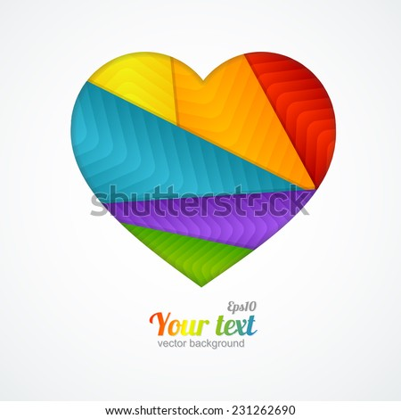 Vector card Heart label with lgbt flag. White background - stock vector