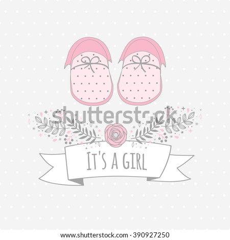 Vector card ITS A GIRL with baby's booties. Background with dots. Floral tag - stock vector
