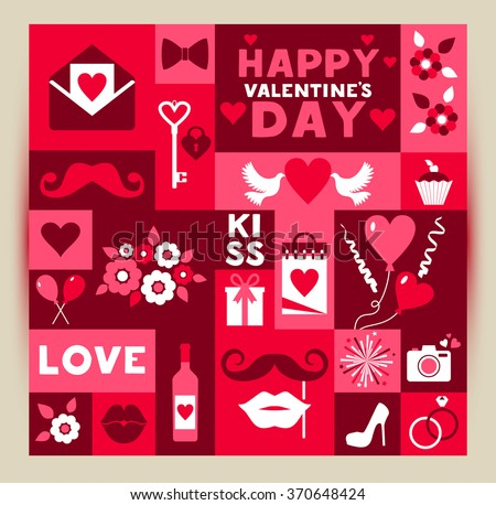 Vector card of Valentine Day. Vintage design in red and rose color. - stock vector