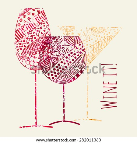Vector card of wine, vermouth and champagne grunge glasses for restaurant and bar menu design - stock vector