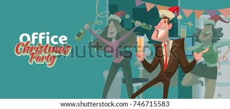 "Vector card ""Office Christmas party"" with cartoon image of young man and two women in a red Santa's hats with champagne in hands on a blue background."
