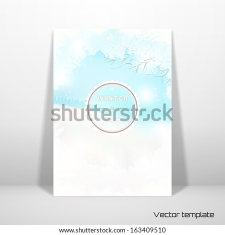 Vector Card Template Frosted Glass And Winter Landscape Beautiful Inscription