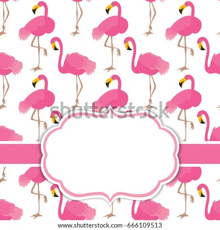 Vector card template pink flamingos on stock vector for Flamingo beak template