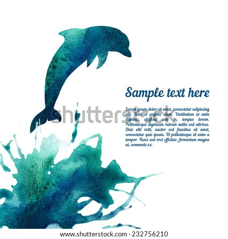 Vector card template with watercolor elements. Beautiful colorful ink stain and dolphin silhouette with your personalized text. - stock vector