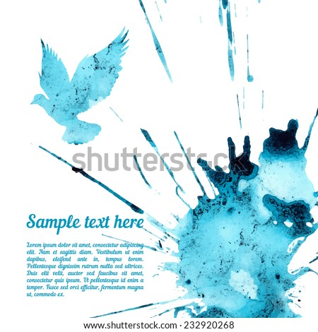 Vector card template with watercolor elements. Beautiful colorful ink stain and dove silhouette with your personalized text. - stock vector
