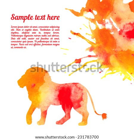 Vector card template with watercolor elements. Beautiful colorful ink stain and lion silhouette with your personalized text. - stock vector