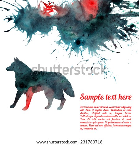 Vector card template with watercolor elements. Beautiful colorful ink stain and wolf silhouette with your personalized text. - stock vector