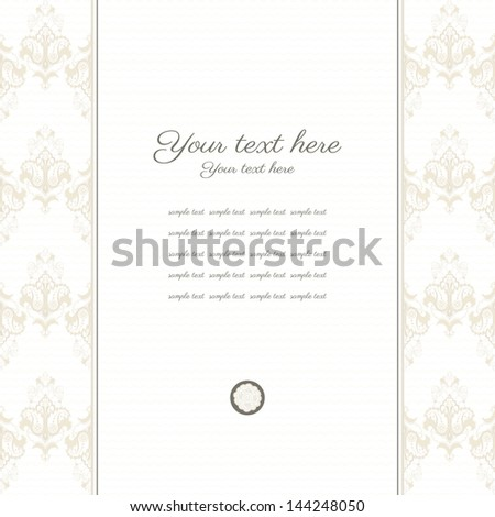 Vector card. Vintage damask border. Place for your text. Perfect for greetings, invitations or announcements.