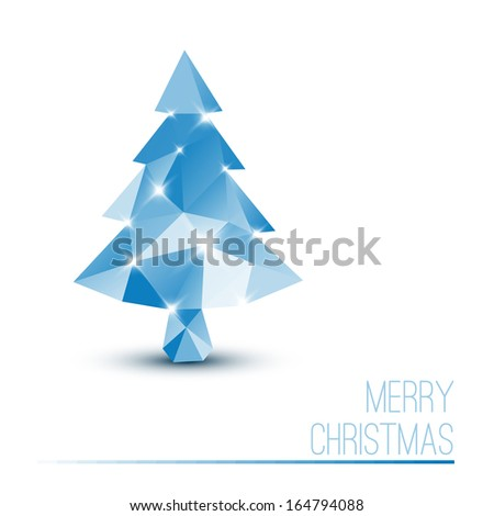 Vector card with abstract blue christmas tree made from triangles - stock vector
