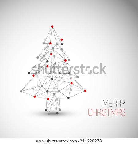 Vector card with abstract christmas tree made from lines and dots (low poly art) - stock vector