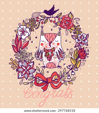 vector card with an abstract floral wreath and a cute owl - stock vector
