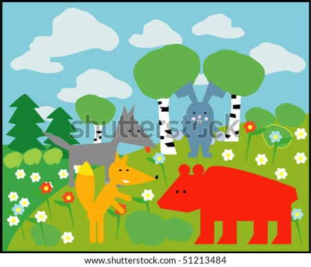 vector card with animals 05