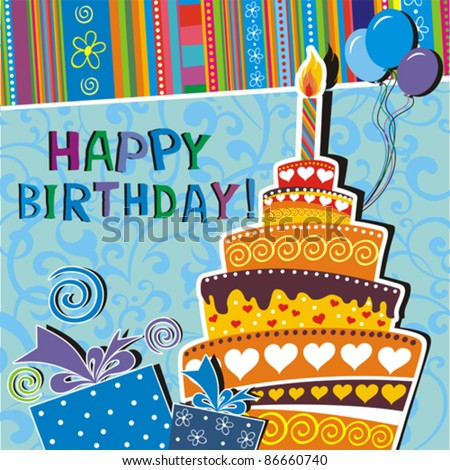 Vector card with birthday cake - stock vector