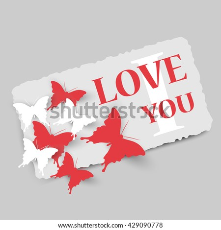 Vector card with butterflies - love theme - stock vector