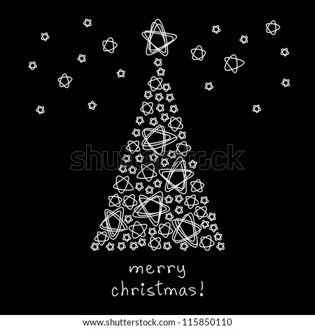Vector card with christmas tree made of stars. Black background in childish hand drawn style with shapes of doodles and lettering - Merry Christmas. Holiday illustration for invitation and greeting - stock vector