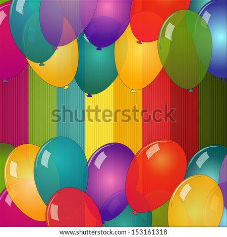 Vector card with colorful balloons - stock vector