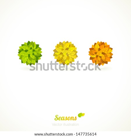 Vector card with 3 colorful (orange, yellow and green) circles of leaves. - stock vector