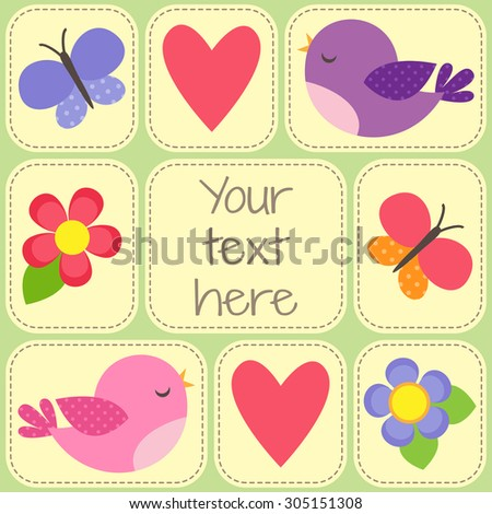 Vector card with cute birds, butterflies and flowers. Template with place for your text or photo - stock vector