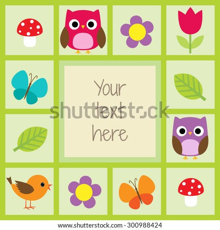 Vector card with cute owls, butterflies, leaves and flowers - stock vector
