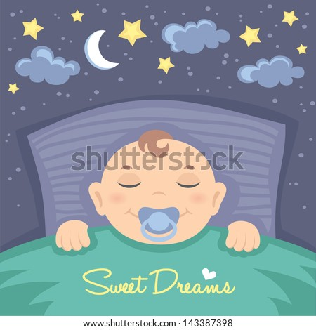 Vector card with cute sleeping baby boy - stock vector