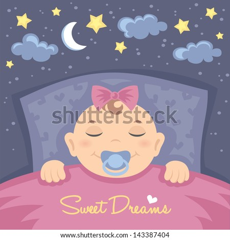 Vector card with cute sleeping baby girl - stock vector